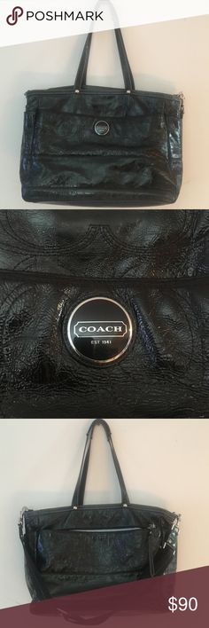 🎄🎁Coach Black Shiny Leather Tote with Strap🔥 💯Pre-Loved Big Coach Tote, removable strap, can be used for school, work or even as A Diaper bag. In Great condition, well taken cared of by yours truly☺️🎄 PRICE IS FIRM Coach Bags Shoulder Bags