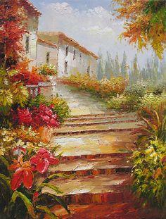 The Hideaway Villa 23 x 30 Original Oil Painting Palette knife Town Steps Villa Italian Flowers Sunny Bright by Marchella