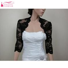 b52993beb5b069 Aliexpress.com   Buy Black Lace Jacket Elegant Half sleeve bridal jacket  bolero mariage lace bolero evening dress bolero wedding accessories Z524  from ...