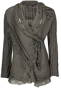Inspiration: Forla Paris Wrap Cardigan Sweater  sold out - buckle.com = Sequin and crochet front tie cardigan sweater.