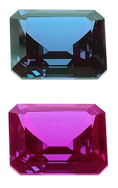 Pulled synthetic alexandrite, Fig. 20.: Czochralski or pulled alexandrite looks very clean, but contains curved striations visible with magnification and stone color is bluish under the daylight