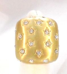 Square Polished Gold Tone Ring with Stars, Rhinestones Size 6
