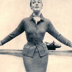 Knitting Pattern Two Piece Fitted Suit Pattern Vintage 1950s