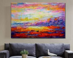 Abstract Painting, Abstract Art, Large Art, Oil Painting, Canvas Art, Large Wall Art, Canvas Painting, Landscape Painting, Large Canvas Art  Heavy Texture Oil Painting Painting Size: 24x48 inches (60X120CM)  Thanks for stopping by! To view more of my unique artworks please visit: http://www.etsy.com/shop/topart007  This is a wonderful colorful painting direct from the artist. I use only highest quality Winsor & Newton art materials, and painted on acid free gallery museum quality canvas…