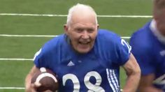 Watch this 89-year-old vet run for a touchdown at Kansas football game