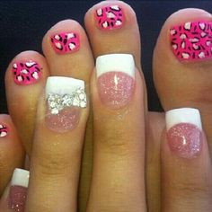 gorgeous french manicure with one rhinestone accent nail