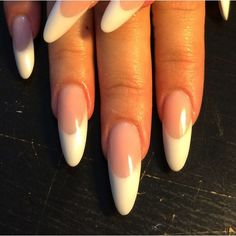Super Nails French Almond Tips - nails - Almond Nails White Nails, Pink Nails, Gel Nails, Matte Pink, Polish Nails, Coffin Nails, Matte Black, Almond Acrylic Nails, Almond Shape Nails