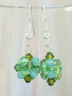 Crystal Disco Ball Earrings in Green and Aqua from Cloudberry Cat by DaWanda.com