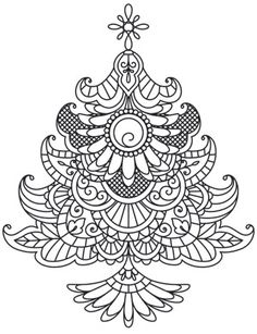 Delicate December - Christmas TreeI This would look amazing embroidered! Christmas Tree Design, Christmas Colors, Christmas Crafts, Christmas Trees, Xmas, Christmas Coloring Pages, Coloring Book Pages, Christmas Embroidery Patterns, Embroidery Designs