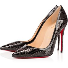 Christian Louboutin Kristali ($1,195) ❤ liked on Polyvore featuring shoes, pumps, heels, christian louboutin, louboutin, version black, black patent shoes, high heel shoes, black patent leather pumps and patent shoes