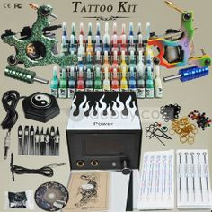 Complete Tattoo Kit with 2 Guns 54 Color Inks and Power Supply Color Ink, 2 Guns, Tattoo Kits, Top Gun, Tattoo Supplies, My Love, Tattoos, Beauty, Tatuajes