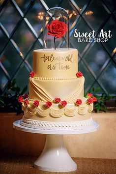 Image result for beauty and the beast wedding cake rose