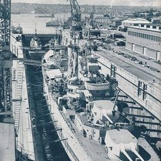 Captain Cook dock at Garden Island, c1946. Ship in drydock likely HMAS Australia #sydney #history http://fat.ly/kq3C (Instagram Image from @beliefmedia, 2nd February 2017 8:49am).