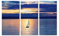 Canvas schilderij zeilboot tijdens zonsondergang