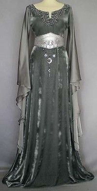"As described above, the ""Morgana Le Fay"" dress in the main body of beautiful, shimmering, silver-gra"