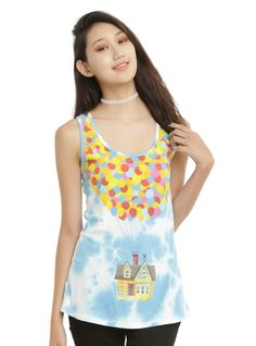 <p>Adventure is out there! Go grab life by the horns in this tie dye tank top from Disney/Pixar's UP!</p>  <p>Sky blue tie dye racer back tank top features a large design of Carl Fredricksen's house tethered to hundreds of colorful helium-filled balloons - just like in the movie!</p>  <ul> 	<li>100% cotton</li> 	<li>Wash cold; dry low</li> 	<li>Imported</li> 	<li>Listed in junior sizes</li> </ul>  <p> </p>