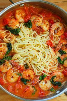 Shrimp Pasta with Garlic Basil Tomato Sauce #seafoodrecipes
