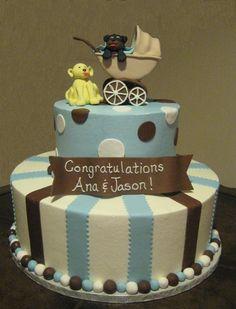 baby shower cakes | dog & pram baby shower cake