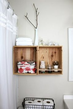 Two wine crates and tobacco sticks (or stakes) are all it takes to make these versatile wine crate shelves. Shabby Chic Bathroom Accessories, Diy Bathroom Decor, Small Bathroom, Bathroom Ideas, Modern Bathroom, Vintage Accessories, Quirky Bathroom, Budget Bathroom, Modern Wall