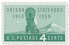 1959 4c Oregon Statehood - Catalog # 1124 For Sale at Mystic Stamp Company