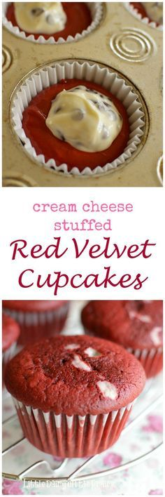 Just when you think Red Velvet Cupcakes couldn't get any better, then they get stuffed with a cream cheese surprise! I think you will be swooning over these for a long time!natural a chocolate cupcake Cupcake Recipes, Baking Recipes, Cupcake Cakes, Dessert Recipes, Cup Cakes, Cupcake Blog, Cupcake Fillings, Gourmet Recipes, Cupcake Emoji