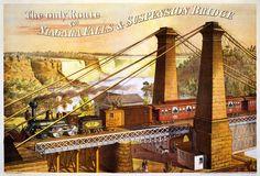 GREAT WESTERN RAILROAD (GWR) ENGINE 207, New York & Boston to Chicago & San Francisco, crossing the Niagara Suspension Bridge