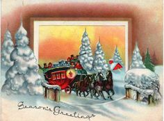 Colorful c1960s Christmas card with snowy horse carriage