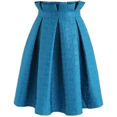 Chicwish Lasting Delight Pleated A-line Skirt in Blue (285 GTQ) via Polyvore featuring skirts, blue, blue knee length skirt, pleated skirt, blue a line skirt, chicwish skirt y blue pleated skirt