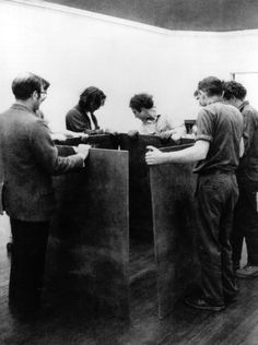 """""""Serra (center) and others installing One Ton Prop (House of Cards) at the Museum of Art, RISD, Providence, 1969"""""""
