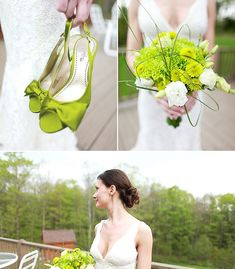 Green Satin Wedding Shoes + Green Bouquet = Brilliant Idea! :)