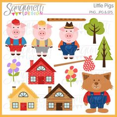 Three Little Pigs clipart, includes pigs, house of brick, house of sticks, and house of straw, wolf, flute, flowers, sac and trees.  Would be perfect for teacher and preschool classroom use.  Great for embroidery, applique, nursery wall art too.