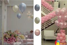 Arranjo de mesa com balões e arranjo de chão com duplos com balões perolizados. Créditos: balões: Balão Cultura (www.balaocultura....) Decoração: Rachel Gomes (instagram.com/...)#qualatex #balaocultura #balãocultura #arranjodemesa #rachelmgomes#decoracaojardim #festainfantil #encontrandoideias