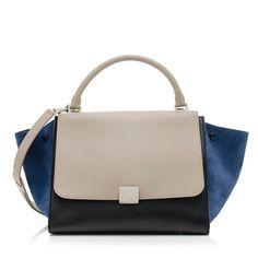 Celine Tricolor Calfskin Medium Trapeze Bag
