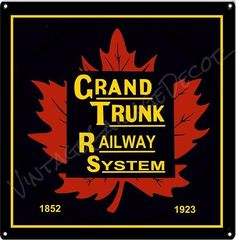 "Vintage Style "" Grand Trunk Railway System "" Railroad Metal Sign $25.00"