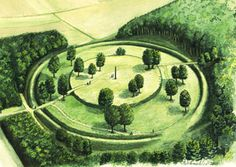 "Reconstruction ""Goloring"". The Goloring is an ancient earthworks monument located near Koblenz, Germany. It was created in the Bronze Age era, which dates back to the Urnfield culture (1200–800 BCE.). During this time a widespread solar cult is believed to have existed in Central Europe."
