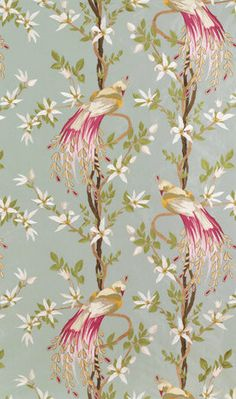 """Nina Campbell for Osborne and Little """"Paradiso"""" Fabric Drapery Panels Designers Guild, Chinoiserie, Osborne And Little Wallpaper, Nina Campbell, Sherwin William Paint, Fabric Wallpaper, Bedroom Wallpaper, Drapery Fabric, Drapery Panels"""
