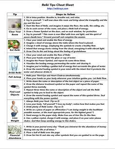 Reiki Tips Cheat Sheet