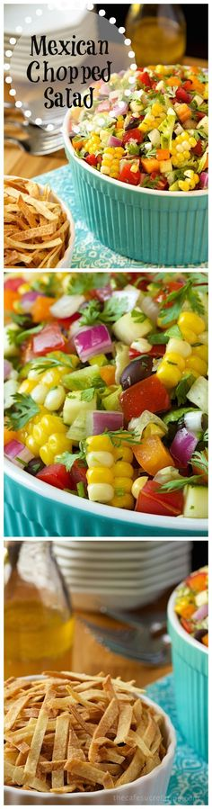 Mexican Chopped Salad. The freshest, healthiest, most delicious salad with lots of Southwestern flair! Mexican Salads, Mexican Food Appetizers, Healthy Mexican Food, Mexican Fiesta Food, Mexican Salad Recipes, Best Mexican Recipes, Mexican Potluck, Mexican Chopped Salad, Mexican Tamales