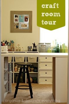 Awesome Craft room tour full of brilliant ideas on organizing anything and everything in the craft room.