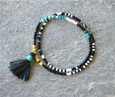 #boho #summer #tribal #bracelet #color #tassel #black #handmade