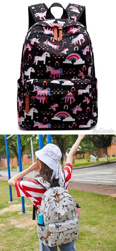 Color : A LBYMYB Backpack Female College Wind Student Bag Printing Backpack Kidss Backpack