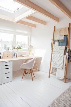 Six Steps to a Fun, Fresh and Functional #Home Office | Avenue #Lifestyle, featuring leaning rack from Walden.at, Chairs from Fashion for #Home, Rug from By Mölle, Lamp from House Doctor via Avenue Lifestyle