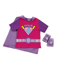 Look what I found on #zulily! Magenta Personalized Cape Tee & Cuff Set - Toddler & Girls by Personalized Planet #zulilyfinds