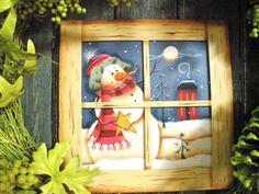 A Frosty Night Window Ornament Bird Christmas Ornaments, Etsy Christmas, Snowman Ornaments, Christmas In July, Christmas Items, Night Window, Hand Painted Ornaments, Painted Snowman, How To Varnish Wood