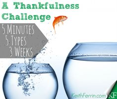 5 Minutes of 5 different types of thankfulness for 3 weeks. Who's in?