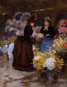 Flower Market, French Painters: GILBERT Victor-Gabriel