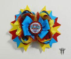 "Girl`s Large OTT Paw Patrol Inspired Hair Bow Clip Blue Red Yellow 5.5"" #FemmortalFashions"