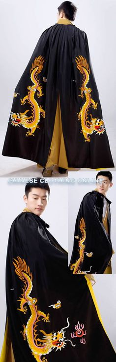 Men's Hanfu Dragon Embroidery Cloak - Black (RM)