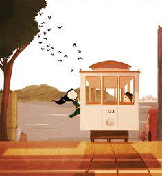 "San Francisco, Travel, California, Home Decor  - ""Cable Car"" -  Art Print 13x19. $35.00, via Etsy."
