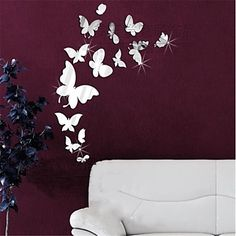 Mirror Wall Stickers Wall Decals, DIY 14PCS Butterfly Mirror Acrylic Wall Stickers - USD $ 9.99